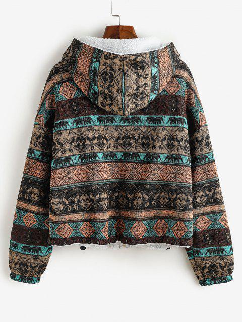 ZAFUL Manteau à Capuche Tribal Imprimé à Doublure en Fausse Fourrure - marron foncé XL Mobile
