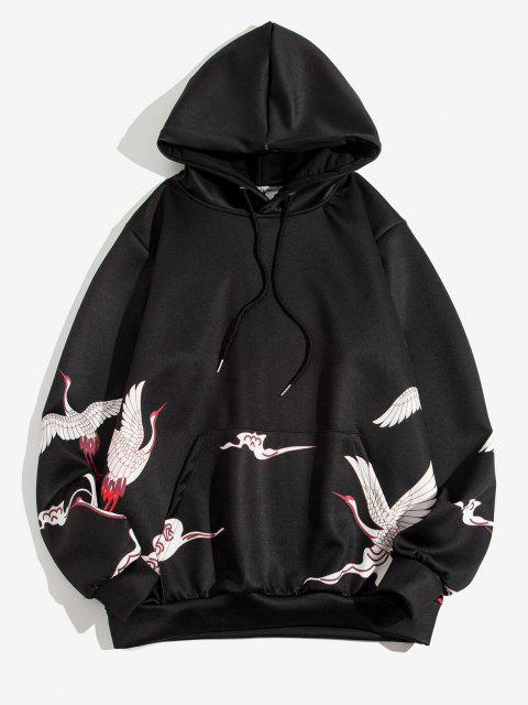 fashion Chinese Character Flying Crane Graphic Hoodie - BLACK L Mobile