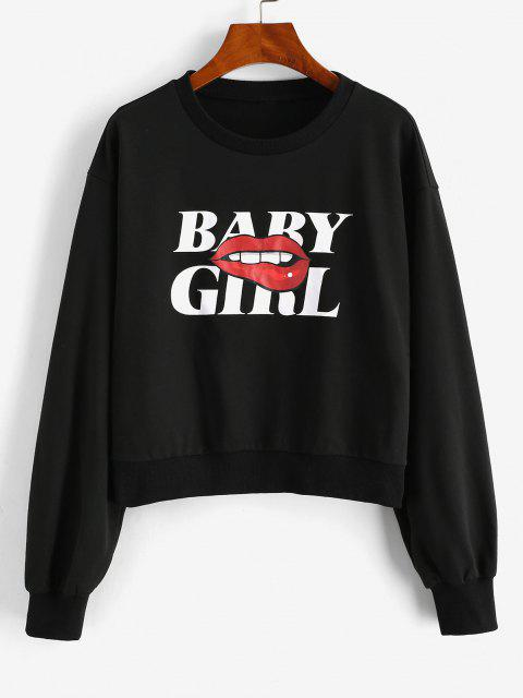 ZAFUL Lip BABY GIRL Graphic Sweatshirt - أسود XL Mobile