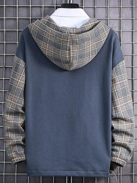 fashion Plaid Text Print Pullover Hoodie - MARBLE BLUE XS Mobile