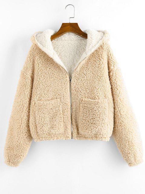 ZAFUL Reversible Hooded Pocket Drop Shoulder Teddy Coat - القهوة الخفيفة S Mobile