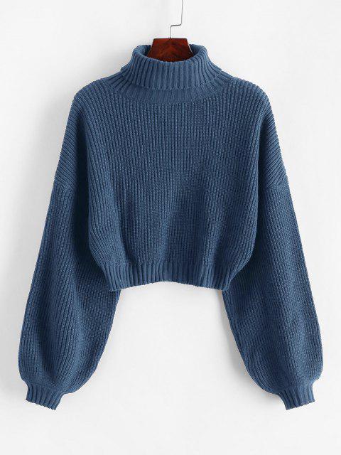 ZAFUL Zugeschnitte Laterne Ärmel Rollkragen Pullover - Blauer Efeu S Mobile