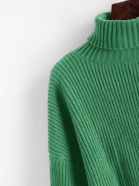 women ZAFUL Turtleneck Lantern Sleeve Cropped Sweater - DARK SEA GREEN S Mobile