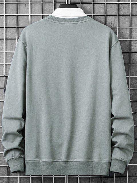 Geometric Print Rib-knit Trim Sweatshirt - اخضر فاتح XS Mobile