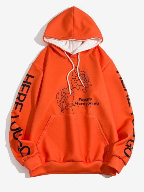 outfits Rose In Hand Here You Go Pattern Hoodie - PUMPKIN ORANGE 2XL Mobile