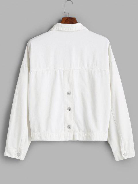 Veste Boutonnée de Grande Taille avec Poches en Avant en Denim - Blanc 2X Mobile