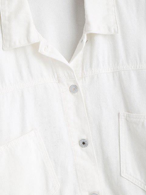 Veste Boutonnée de Grande Taille avec Poches en Avant en Denim - Blanc 4X Mobile