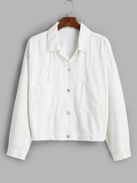 lady Front Pockets Button Up Plus Size Denim Jacket - WHITE 5X Mobile