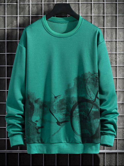 buy Birds Biker Print Rib-knit Trim Sweatshirt - JUNGLE GREEN XS Mobile