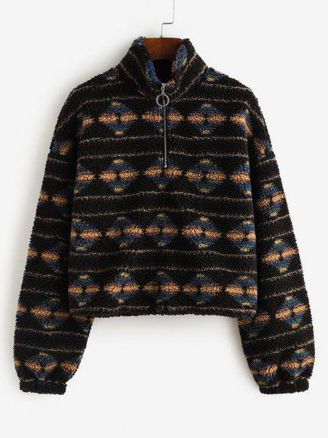 hot ZAFUL Tribal Print Half Zip Teddy Sweatshirt - BLACK S Mobile
