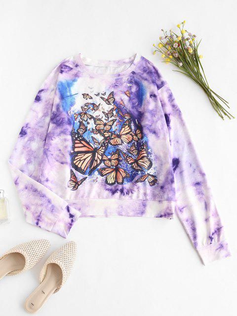 affordable Tie Dye Butterfly Drop Shoulder Sweatshirt - PURPLE L Mobile