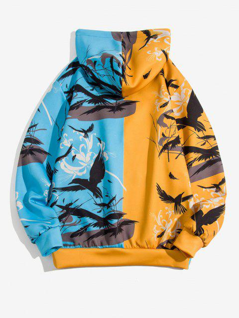 best Two Tone Chinoiserie Print Hoodie - SUN YELLOW M Mobile