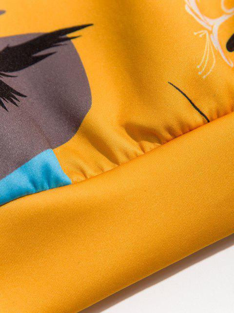 Zweifarbiger Chinoiserie Drucken Hoodie - Sonne Gelb 2XL Mobile