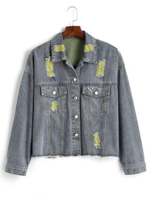 unique Ripped Frayed Hem Plus Size Denim Jacket - YELLOW L Mobile