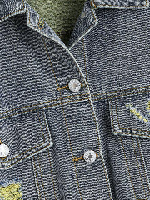 Veste Déchiré de Grande Taille à Ourlet Effrangé en Denim - Jaune 1X Mobile