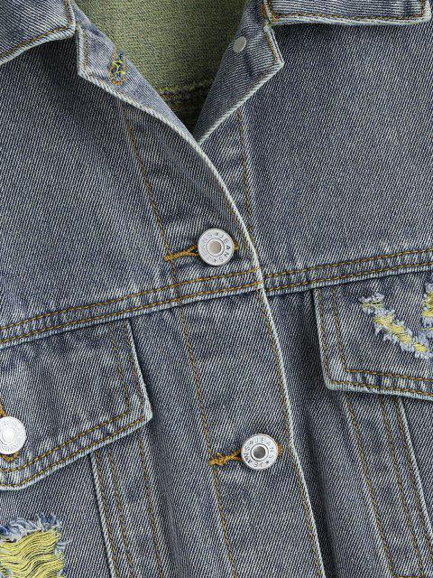 Veste Déchiré de Grande Taille à Ourlet Effrangé en Denim - Jaune 4X Mobile