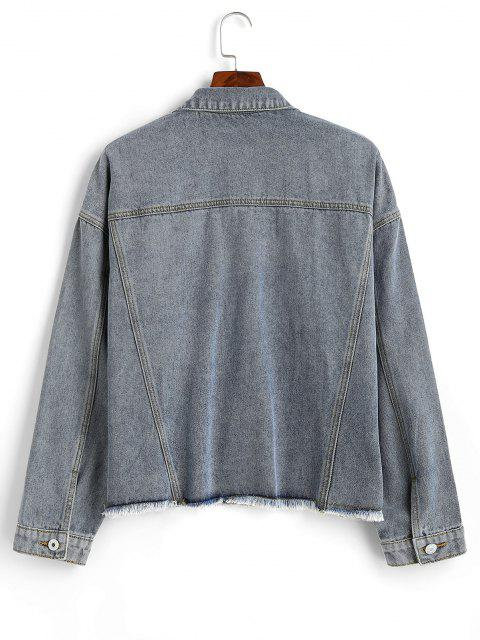 women Ripped Frayed Hem Plus Size Denim Jacket - YELLOW 5X Mobile