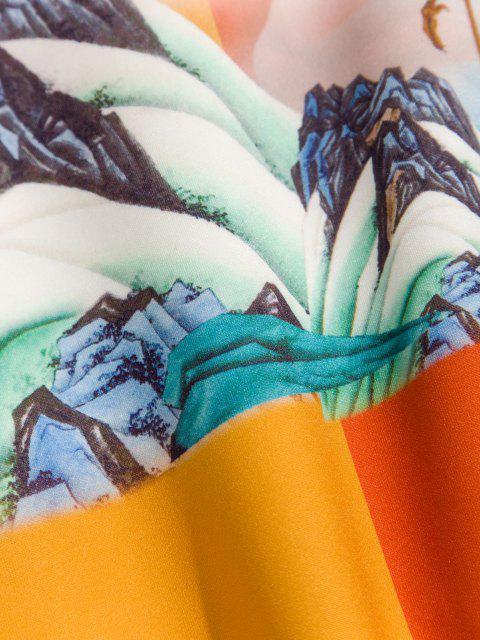 Sweat à Capuche Bicolore Paysage de Montagne Lotus Imprimé - Chocolat 3XL Mobile