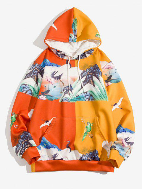 outfit Two Tone Mountain Lotus Landscape Print Hoodie - CHOCOLATE 2XL Mobile