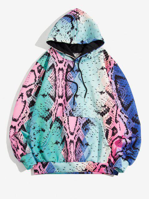 online Snake Skin Print Kangaroo Pocket Hoodie - BLUE IVY 2XL Mobile