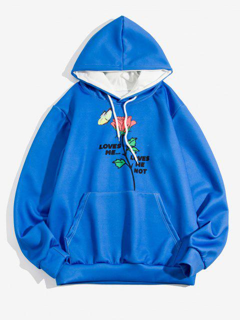 trendy Rose Butterfly Loves Me Print Hoodie - COBALT BLUE 3XL Mobile