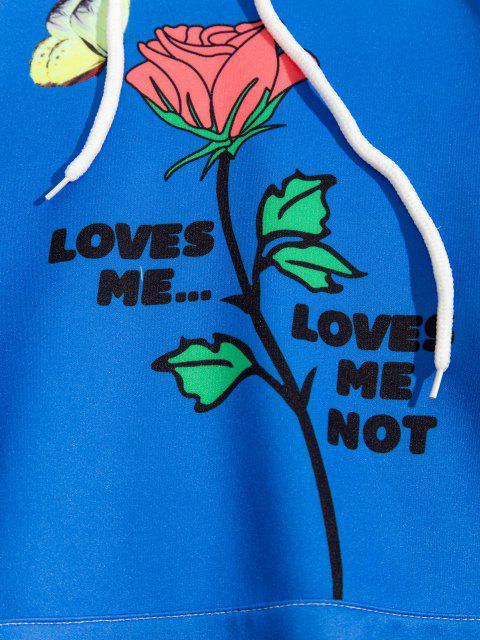 lady Rose Butterfly Loves Me Print Hoodie - COBALT BLUE L Mobile