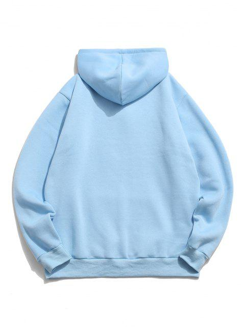 outfit Chinese Character Print Flocking Drawstring Hoodie - LIGHT BLUE XL Mobile