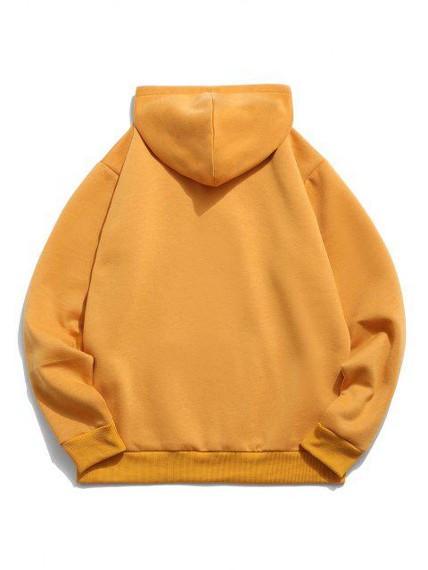 shops Chinese Character Print Flocking Drawstring Hoodie - YELLOW M Mobile