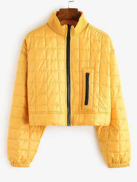 High Neck Zip Drop Shoulder Padded Coat - الأصفر M Mobile