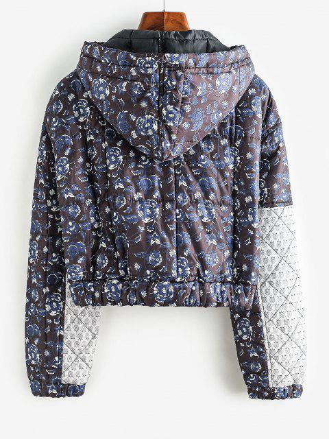 lady Floral Hooded Zip Padded Coat - BLACK L Mobile