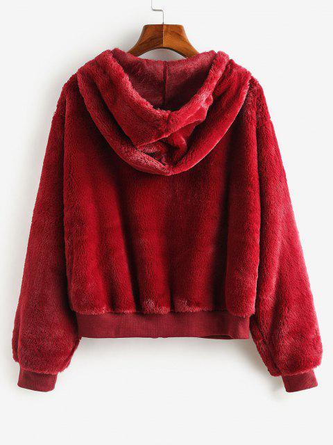 buy ZAFUL Faux Fur Hooded Fuzzy Coat - FIREBRICK M Mobile