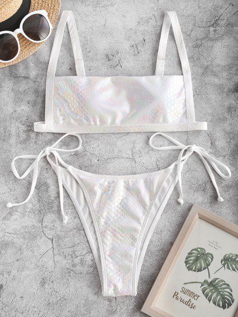 shop ZAFUL Glitter Snakeskin Tie Side Tanga Bikini Swimwear - WHITE M Mobile