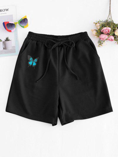 French Terry Butterfly Graphic Pocket Sweat Shorts - Black M