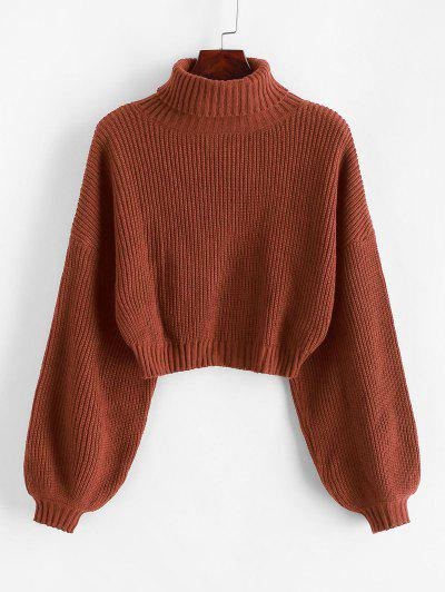 ZAFUL Turtleneck Lantern Sleeve Cropped Sweater - Chestnut Red M
