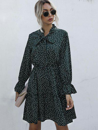 Polka Dot Bow Tie A Line Dress - Deep Green M