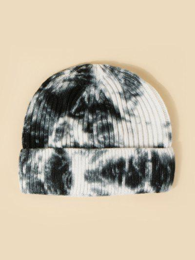 Tie Dye Ribbed Knitted Hat - Black