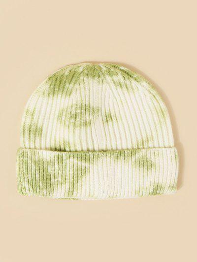 タイダイリブ付きニット帽子 - 緑