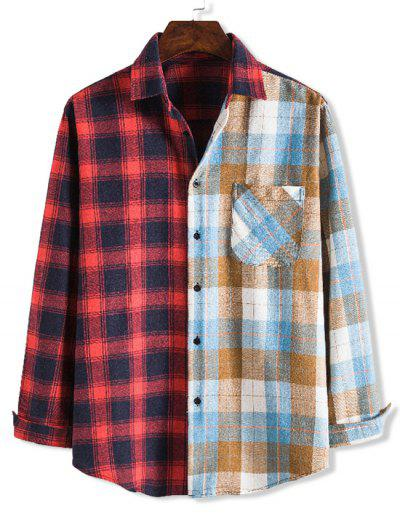 Contrast Checked One Pocket Leisure Shirt - Multi-c 2xl