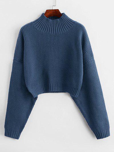 ZAFUL Drop Shoulder Mock Neck Plain Sweater - Slate Blue L