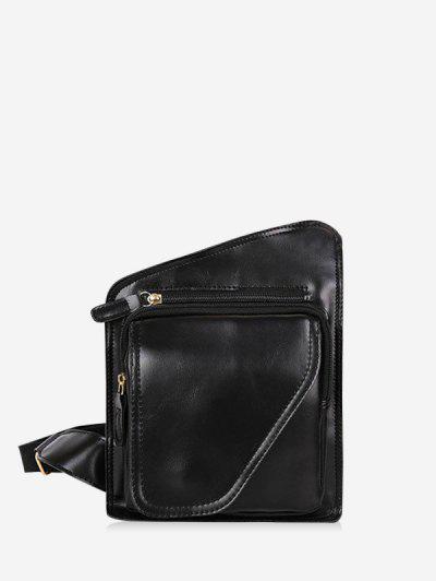 Retro PU Irregular Chest Bag - Black
