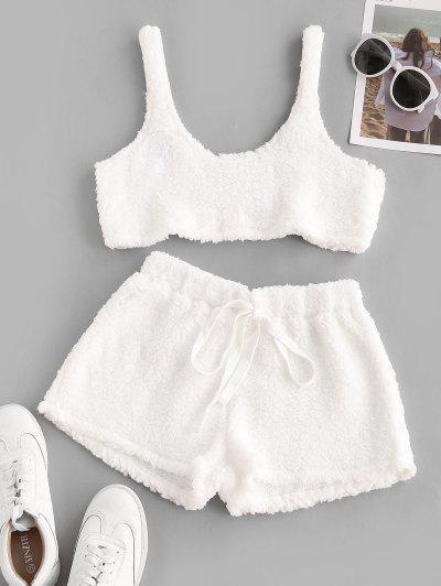 Conjunto De Pijama Macia Do Shearling Do Falso - Branco S