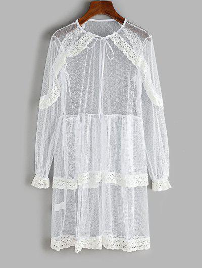 Spitze Öse Rüschen Geschichteten Kleid - Weiß L