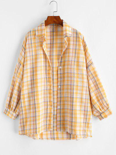 Drop Shoulder Plaid Oversize Shacket - Goldenrod L