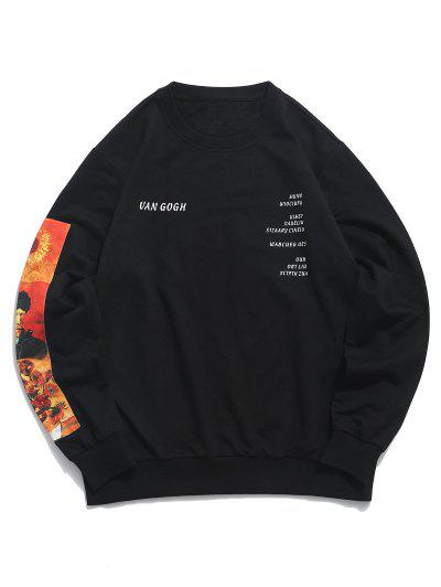 ZAFUL Sweat-shirt GraphiquePeinturedeTournesol - Noir Xl