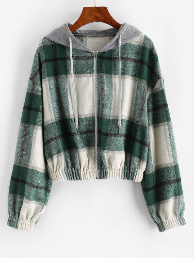 ZAFUL Hooded Plaid Combo Wool Blend Jacket - Sea Turtle Green L