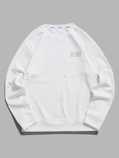 Paint Splatter Letter Patch Double Hem Sweatshirt - White L
