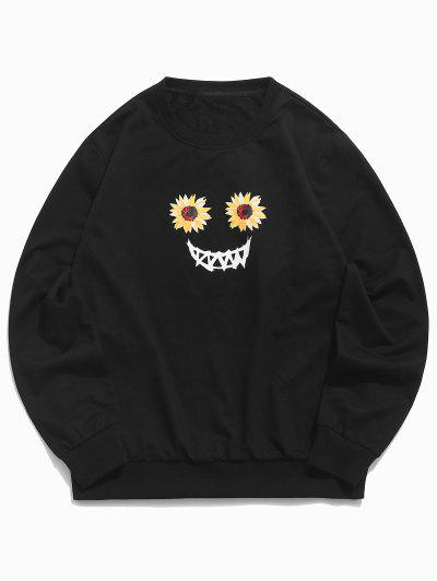 Halloween Scary Smile Sunflower Sweatshirt - Black S