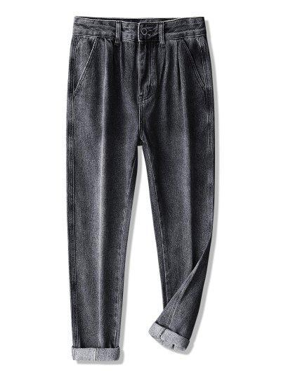 Paisley Kleine Blumen Patch Lange Jeans - Graphitschwarz 32