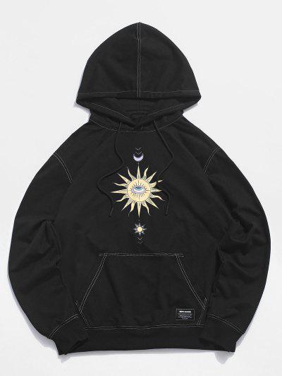 Moon And Sun Eye Stitching Hoodie - Black M