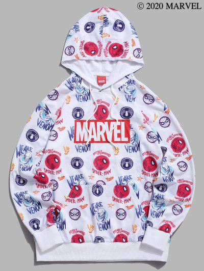 Marvel Spider-Man Venom Allover Pattern Graphic Hoodie - White 2xl